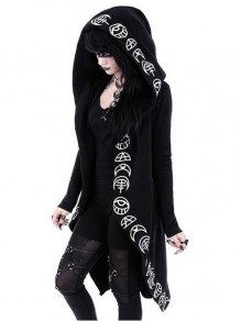 Black Restyle Witchcraft Halloween Irregular Oversized Hooded Gothic Alternative Goth Cardigan Coat