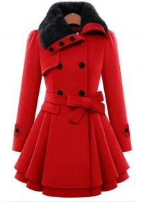 Red Cascading Ruffle Double Breasted Fur Buttons Belt Turndown Collar Fashion Wool Coats