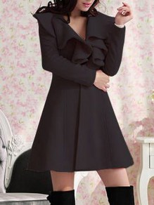 Black Ruffle Turndown Collar Long Sleeve Going out Coat