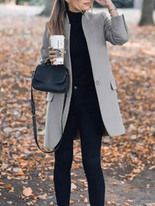 Grey Pockets Buttons Band Collar Long Sleeve Casual Simple Wool Coat