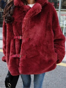 Wine Red Faux Fur Pockets Belt Turndown Collar Long Sleeve Coat