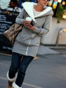 Grey Fur Zipper Hooded Long Sleeve Casual Sweatshirt Coat