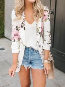 White Floral Print Pockets Turndown Collar Long Sleeve Going out Suit Blazer