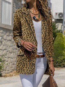 Yellow Leopard Print Pockets Tailored Collar Long Sleeve Fashion Suit