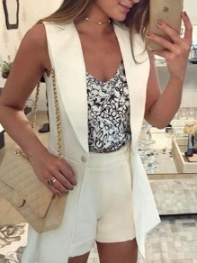 White Buttons Deep V-Neck Sleeveless Turndown Collar Clubwear Evening Party Casual Suit