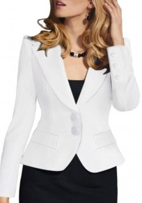 White Buttons Single Breasted Turndown Collar Deep V Blazer