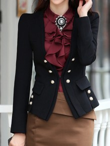 Black Pockets Buttons Studded Double Breasted Tailored Collar Long Sleeve Preppy Elegant Blazer
