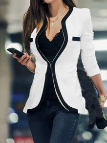 White Color Block Buttons Pockets V-neck Long Sleeve Elegant Suit