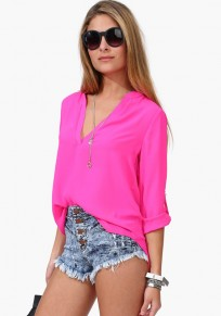 Rose-Carmine Plain Casual V-neck Chiffon Blouse