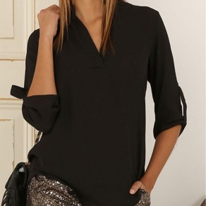 Black Plain Draped Long Sleeve Casual Chiffon Blouse