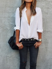 White Pockets Single Breasted Peter Pan Collar Oversized Baggy Classic Casual UK Blouse