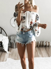 White Floral Pattern Bardot Off Shoulder Fashion Chiffon Blouse
