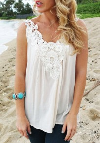 White Patchwork Hollow-out Lace V-neck Loose Blouse