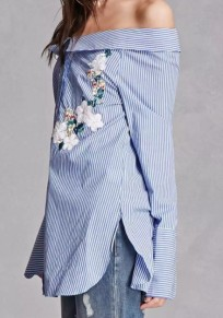 Blue Striped Embroidery Boat Neck Long Sleeve Fashion Blouse