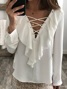 White Plain Wavy Edge Plunging Neckline Fashion Chiffon Blouse