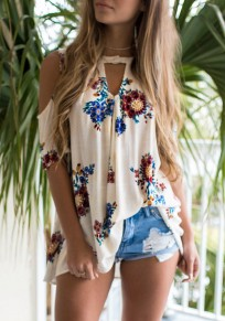 White Flowers Cut Out Buttons Chiffon Casual Blouse