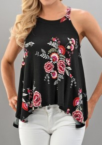 Black Flowers Irregular Spaghetti Strap Round Neck Blouse