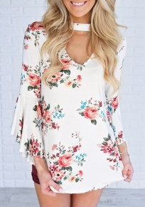 White Floral Cut Out V-neck Bell Sleeve Fashion Blouse