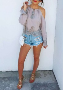 Grey Patchwork Lace Cut Out Off-shoulder Round Neck Long Sleeve Blouse
