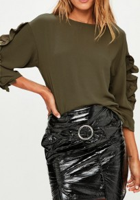 Army Green Cascading Ruffle Round Neck Long Sleeve Fashion Blouse