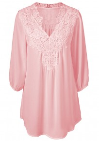 Pink Patchwork Lace 3/4 Sleeve Casual Blouse