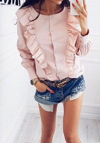 Pink Striped Buttons Ruffle Round Neck Fashion Blouse