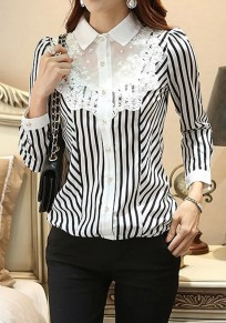 White-Black Striped Lace Single Breasted Elegant Office Worker/Daily Blouse