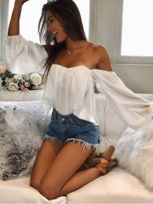 White Ruffle Boat Neck Fashion Blouse