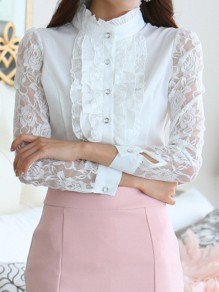 White Patchwork Lace Ruffle Buttons Band Collar Long Sleeve Office Worker Blouse
