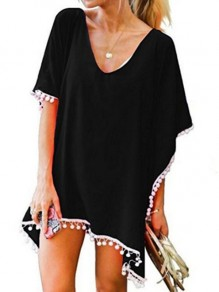 Black Tassel V-neck Short Sleeve Beach Kimono Cover Up Blouse