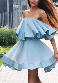 Sky Blue Patchwork Pleated Bandeau Off Shoulder Backless Going out Cute Blouse