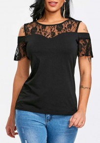 Black Patchwork Lace Cut Out Round Neck Short Sleeve Blouse