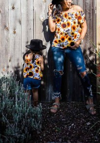 Yellow Sunflower Print Off Shoulder Backless Bohemian Going out Cute Blouse