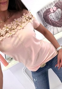 Pink Flowers Lace Boat Neck Short Sleeve Sweet Blouse