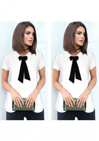 White Single Breasted Ribbons Turndown Collar Fashion Blouse