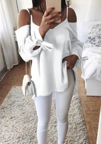 White Condole Belt Knot Long Sleeve V-neck Blouse Blouse