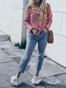 Red Striped Asymmetric Shoulder Single Breasted Knot Slouchy Fashion Casual Blouse