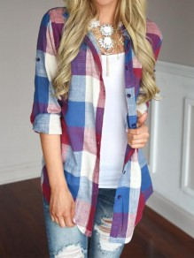 Red Plaid Single Breasted Pockets Casual Blouse