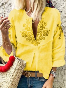 Yellow Floral Deep V-neck 3/4 Sleeve Fashion Blouse