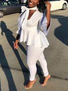 White Draped Deep V-neck Peplum High-low Flare Sleeve Elegant Blouse