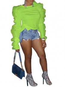 Lime Green Ruffle Long Sleeve Round Neck Casual Neon Blouse