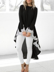 Black Patchwork Lace High-low Round Neck Long Sleeve Blouse