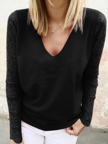 Black Patchwork Lace V-neck Long Sleeve Casual Blouse