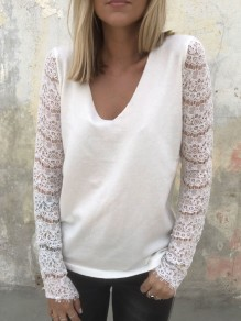 White Patchwork Lace V-neck Long Sleeve Casual Blouse