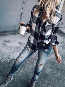 Black-White Plaid Single Breasted Pockets Long Sleeve Turndown Collar Casual Blouse