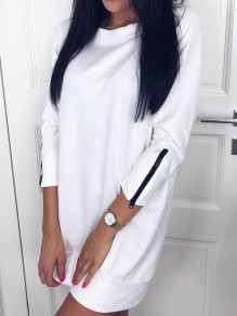 White Plain Zipper Round Neck Going out Casual Blouse