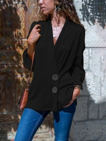 Black Single Breasted V-neck Long Sleeve Casual Blouse