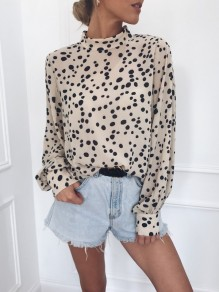 Khaki Polka Dot Print Buttons Band Collar Long Sleeve Blouse