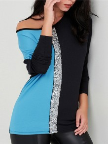 Blue Patchwork Sequin Round Neck Long Sleeve Going out Blouse
