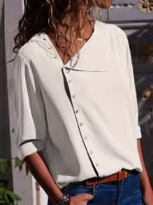 White Single Breasted Buttons Irregular V-neck Long Sleeve Casual Blouse